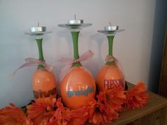 DIY Fall Decor: paint inside of wine glass and stem. Add vinyl lettering to the outside for halloween or thanksgiving. Place upside down with a tea light. @Kelly Teske Goldsworthy Layton