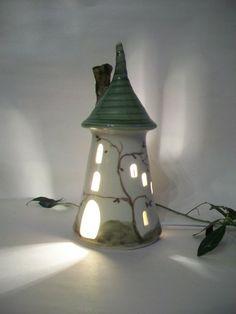 Fairytale Tower - Rapunzel - Night Light - Fairy House - Wheel Thrown - Ready to Ship on Etsy, $42.00