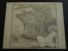 "Antique map of France - beautiful original 1872 hand-colored engraving - old vintage poster about Frankrijk Frankreich Francia 36x46c 14x18"" by DecorativePrints on Etsy"