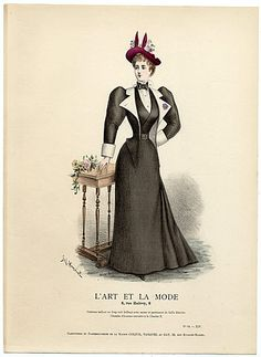 L'Art et la Mode 1893 N°10 Complete with colored engraving by Jules Hanriot