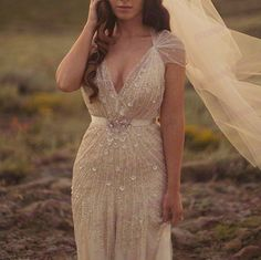 Vintage inspired sheath wedding gown