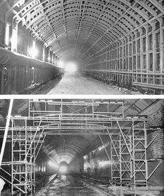 Inside view of the Fort Pitt Tunnel during construction in Pittsburgh in 1958.