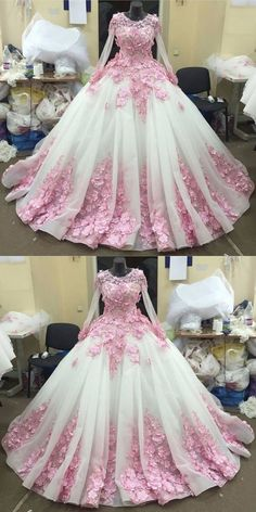 Ball Gown Prom Dresses Long Prom Dress Long Sleeve prom dress Lace prom dress Pink Floral prom dress Luxury prom dress Long Prom Dress cheap prom dresses prom dresses 2017 prom dresses 2018 #annapromdress #prom #promdress #evening #eveningdress #dance #longdress #longpromdress #fashion #style #dress
