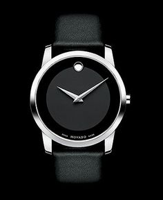 Movado Watch, Men's Swiss Museum Black Leather Strap 40mm 0606502 - Movado - Jewelry & Watches - Macy's