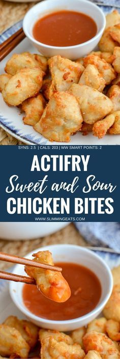 Forget takeout, with this delicious Actifry Sweet and Sour Chicken Bites - the perfect dish for your Chinese Fakeaway night. Dairy Free, Slimming World and Weight Watchers friendly. Slimming World Fakeaway, Slimming World Dinners, Slimming World Chicken Recipes, Slimming World Recipes Syn Free, Slimming Eats, Slimming World Diet, Healthy Chicken Recipes, Diet Recipes, Cooking Recipes