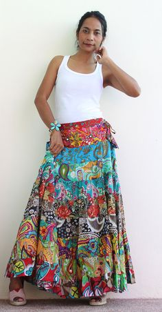 Boho Maxi skirt  Long hippie skirt   Boho Patchwork by Nuichan, $52.00