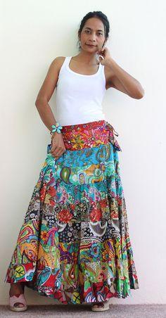 Boho Maxi skirt Long hippie skirt Boho Patchwork by Nuichan, $52.00