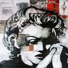 """""""MARILYN MONROE « Memory »"""" by Kathleen Artist Pro. Mixed Media painting on Canvas, Subject: People and portraits, Expressive and gestural style, One of a kind artwork, Signed certificate of authenticity, This artwork is sold unframed, Size: 91.44 x 91.44 x 3.81 cm (unframed), 36 x 36 x 1.5 in (unframed), Materials: Acrylic, Documentation, Paper, Varnish"""