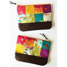 Another patchwork pouch (the front and back of it) Love @alisonglass's Clover Sunshine fabric #sarahsewsforbazaart #sewandtellhandmade #patchwork #zipperpouch #alisonglass #cloversunshine