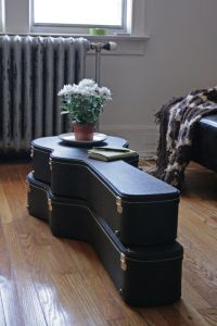 guitar case table - better than stashing them in the closet!