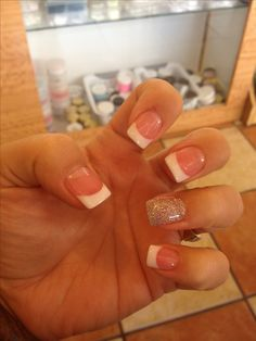 Solar nails, white tip, glitter
