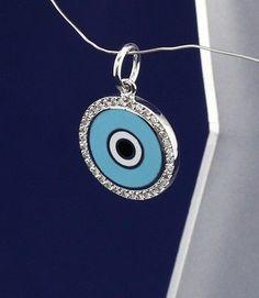 Aaron Basha Round Evil Eye (Large) Charm, 18K White Gold, Diamonds - EEC2LBA - http://designerjewelrygalleria.com/aaron-basha/aaron-basha-round-evil-eye-large-charm-18k-white-gold-diamonds-eec2lba-2/