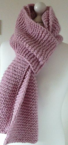 PInk Alpaca Wool MIx Scarf Hand Knitted by Sweetlittleflower on Etsy