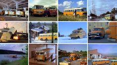 Postiautoja varikolla, Suomen rajalla, satamassa ja laivojen sisällä. Linjureita tien päällä sekä lossin kyydissä. Voimakkaita lumiautoja Lapin hankien keskellä ja postiveneitä saaristossa.