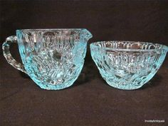 Aqua or Ice Blue Depression Glass Cream & Sugar by InvidaAntiques, $10.00