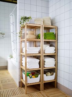 The open shelves of the IKEA MOLGER shelf unit keep all of your bath products including towels and toiletries organized and accessible! IKEA - MOLGER, Shelf unit, birch, The open shelves give a clear overview and easy access. Ikea Molger Regal, Diy Casa, Small Bathroom Storage, Small Bathrooms, Pool Towel Storage, Small Apartment Storage, Bath Storage, Bedroom Storage, Bedroom Decor