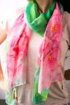 Long Silk Scarf Pink Scarf Hand Painted Long by CrazyLittleSilk