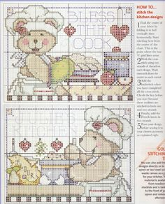 Teddy bear cook part 2 of 2 free cross stitch patterns - colour key with part 1