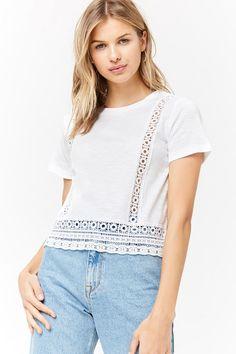 Product Name:Slub Knit Crochet Trim Tee, Category:top_blouses, Price:10.9