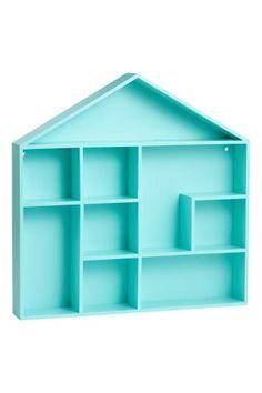 Étagère: Étagère en forme de maison en MDF peint. Modèle avec trous prépercés pour la suspension. Sans visserie. Largeur 32 cm, hauteur 32 cm, profondeur 5 cm.