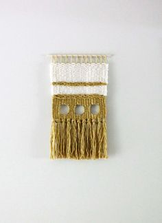 Modern Woven Wall Hanging with Steel Hoops, Weaving, Handwoven Tapestry, Wall Art