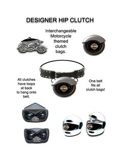 A variety of interchangeable clutch bags that are motorcycle themed.