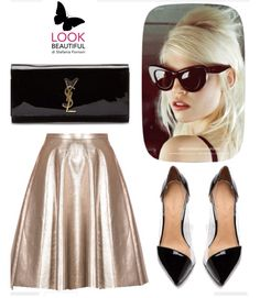 Laminated gold skirt and patent black shoes