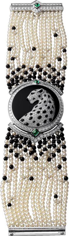 High Jewelry watch Small model, 18K white gold, diamonds, pearls, onyx, emeralds