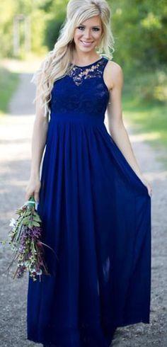 Elegent Chiffon & Lace Jewel Neckline A-line Prom Dresses