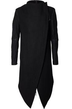 Army Of Me | Leather sleeves zip wool coat