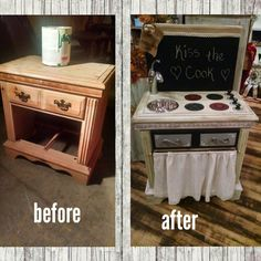 Upcycled kid's kitchen set from a nightstand. $124.99 #cherisheverymoment #upcycling #homedecor