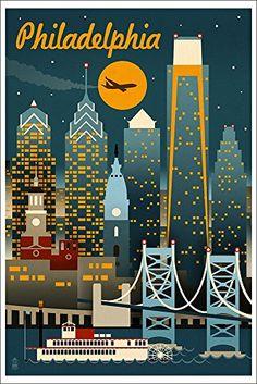 Philadelphia, Pennsylvania - Retro Skyline (no text) - Lantern Press Artwork Giclee Gallery Print, Wall Decor Travel Poster), Multi Wall Art Prints, Poster Prints, Graphic Posters, Canvas Prints, Art Posters, Poster Wall, Framed Prints, Photo Vintage, Skyline Art