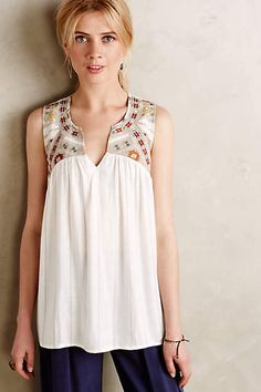 EMBRD YOKE TANK W/STRIPE - anthropologie.com