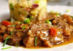 Veprové plecko v zelenině No Salt Recipes, Meat Recipes, Snack Recipes, Czech Recipes, Ethnic Recipes, Food To Make, Main Dishes, Pork, Food And Drink