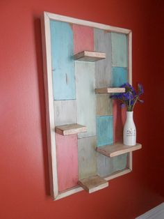 Reclaimed Wood Display Shelf Rustic Painted Display by AtticJoys1
