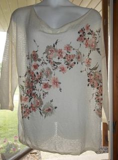 NEW C J BANKS PLUS SIZE 3X IVORY FLORAL PRINT SUMMER COWL NECK SWEATER KNIT TOP #CJBanks #KnitTopSweater #CasualCareerOccasion