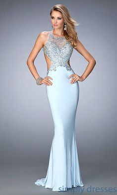 Shop Gigi by La Femme long backless formal gowns at Simply Dresses. Long beaded prom dresses with side cut outs for military balls or pageants.