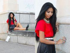 Black Leather Skirt, Calvin Klein White Clutch