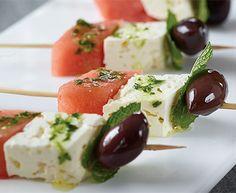 Feta, Olive and Watermelon Skewers with Tre Stelle® Feta Cheese #skewers #feta