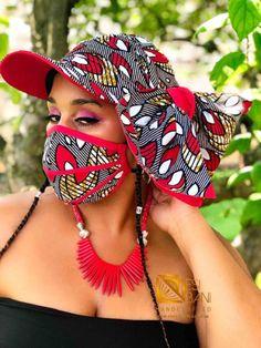 Vivina Hat Headwrap & FACE MASK set, 100% Cotton Washable Reusable Face Mask w/ Filter Pocket, Shaped Mask HBFM1002 Face Mask Set, Sunflower Print, Pattern Cutting, Brim Hat, Head Wraps, Printed Cotton, Cotton Fabric, African, Sewing Ideas