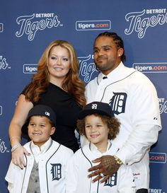 JANUARY 26:  (L-R) Haven, Jadyn, (back) Chanel and Prince Fielder #28 of the Detroit Tigers