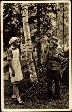 Finnish children emulate a Winter War soldier and Lotta Svärd nurse.1940