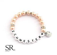 Accessoires - Armband Schwesterherz Geschenk sister Perlen Herz - ein Designerstück von sweetrosy bei DaWanda
