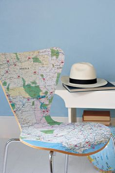 Southern Africa map decoupage chair