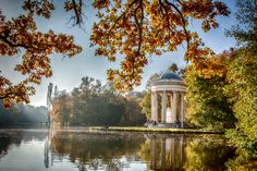 At the German Nymphenburg palace, a Romantic English park was added by Friedrich Ludwig von Sckell to the French gardens by Dominique Girard which had replaced earlier, even more formal, Italian gardens.  The Temple of Apollo was built by Leo von Klenze between 1862-1865.