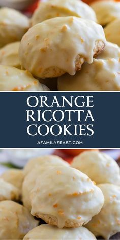 Ricotta Cookies are a classic Italian cookie that is moist and cake-like with a distinctive orange flavor. So delicious!Orange Ricotta Cookies are a classic Italian cookie that is moist and cake-like with a distinctive orange flavor. So delicious! Italian Almond Cookies, Italian Cookie Recipes, Italian Desserts, Baking Recipes, Italian Ricotta Cookies, Italian Foods, Italian Cake, Cookie Desserts, Dessert Recipes