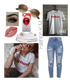 """""""👑GirlBoss👑"""" by karinemarutyan ❤ liked on Polyvore featuring Converse, Fifth & Ninth and Lime Crime"""