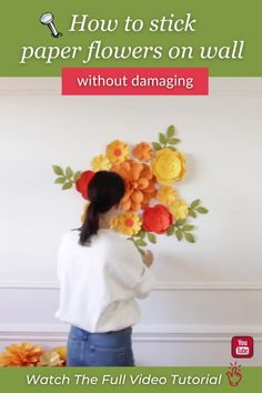 Learn how to securely hang paper flowers without damaging the wall (no holes and paint chips!). Watch this full video tutorial to see how I hang my paper flower set step by step. I'm sharing all my tips and tricks! #paperflowersbackdrop #paperflowerbackdrop #paperflowertutorial Hanging Paper Flowers, Paper Flower Decor, How To Make Paper Flowers, Large Paper Flowers, Paper Flowers Wedding, Crepe Paper Flowers, Paper Dahlia, Paper Peonies, Paper Roses