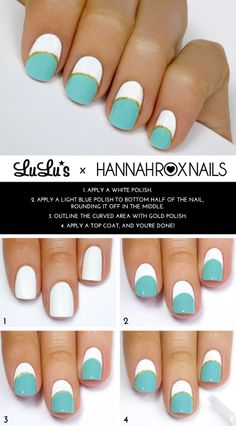 Mani Monday: Mint, White and Gold Striped Mani Tutorial - Lulus.com Fashion Blog
