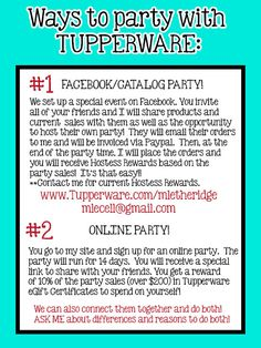 You can now party completely ONLINE with Tupperware and earn FREE PRODUCTS!!
